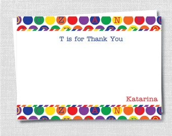ABC Thank You Notecard - Children's Stationery - Alphabet Note - ABC Birthday - Digital Design or Printed Notecards - Free Shipping