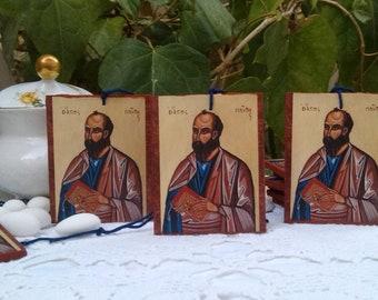 Saint Paul icon favors- 10 pieces mini bomboniere art prints on wood, byzantine religious keepsake christening, confirmation first communion