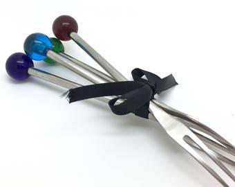 Tapas Appetiser Olive lampwork Forks