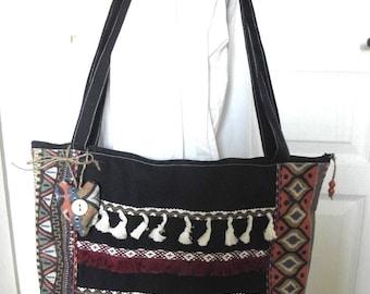 "Fabric zippered bag ""HIPPIE CHIC"" Bohemian, ethnic, fringe, black, Brown"