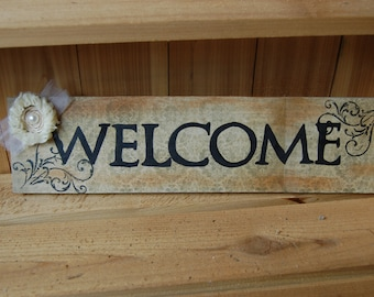 "WELCOME Sign in Rich Browns with Print background, Elegant Flower/Words in Bold Black/Great Gift/17"" x 4 1/2"" Sign(52K)"