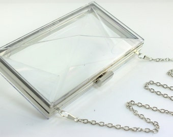 30% OFF SALE - 7 3/4 x 4 1/4 inches - Transparent Plastic Box -  Nickel Clutch Frame with 48 inches Chain (CBF-TR01)