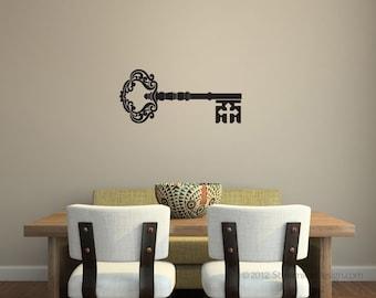 Ornate Skeleton Key Wall Decal | wall art wall livingroom bedroom dining room kitchen office decor old key home decor