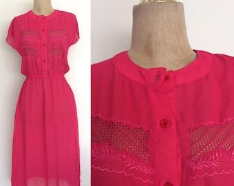 1970's Hot Pink Polyester Dress w/ Stretch Waist Size XS by Maeberry Vintage