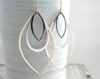 Gold Long Earrings Geometric Jewelry Modern Mixed Metal Earrings Bohemian Chic Earrings Long Dangle Earrings Gift For Women Mothers Day