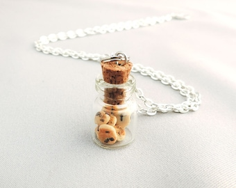 Chocolate Chip Cookie Jar Necklace Miniature Polymer Clay Food Jewelry