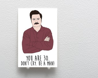 Happy Birthday Greeting Card, Ron Swanson Birthday Card, Birthday Card Parks and Recreation Inspired, Funny Birthday Card 30th Birthday Card