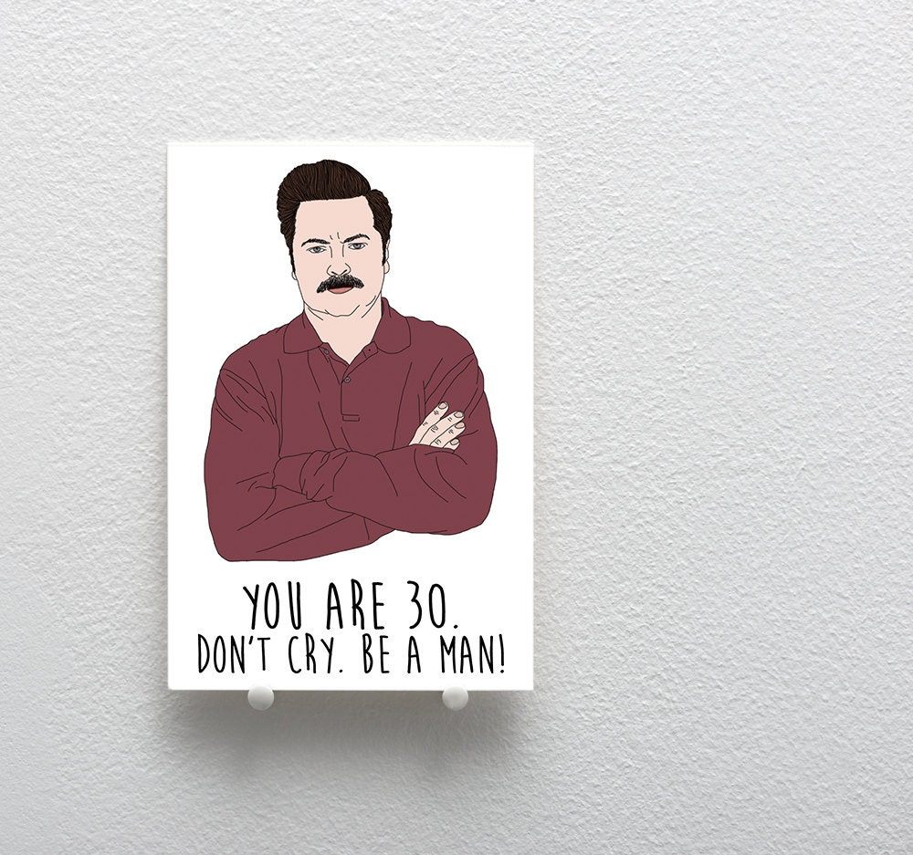 Happy birthday greeting card ron swanson birthday card zoom kristyandbryce Choice Image