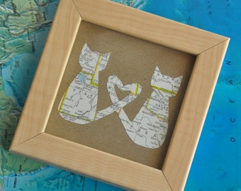 Personalized Graduation Gift for Graduate Gift for Boyfriend Gift Map Gift for BFF Roommate Map Cat Lover Framed Art