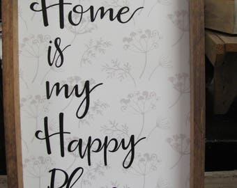 Home Is My Happy Place,Rustic Shadowbox Frame,13x19