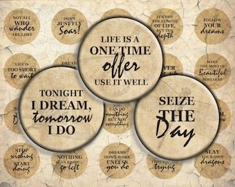 Vintage Antique Style Inspirational Quotes - 30mm, 25mm (1 inch) & 20mm circles - Digital Collage Sheet for Bezel Cabochon Pendants, Crafts