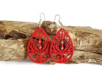 Red wood drop earrings