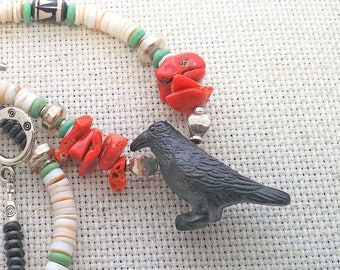 Beaded Crow Necklace