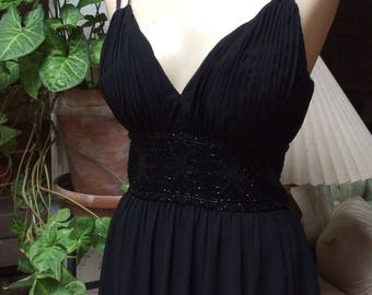 Vintage sexy black sz 2/4 beaded cocktail dress, gathered bust beaded midriff black sheer dress, black sheer spaghetti strap knee dress XS