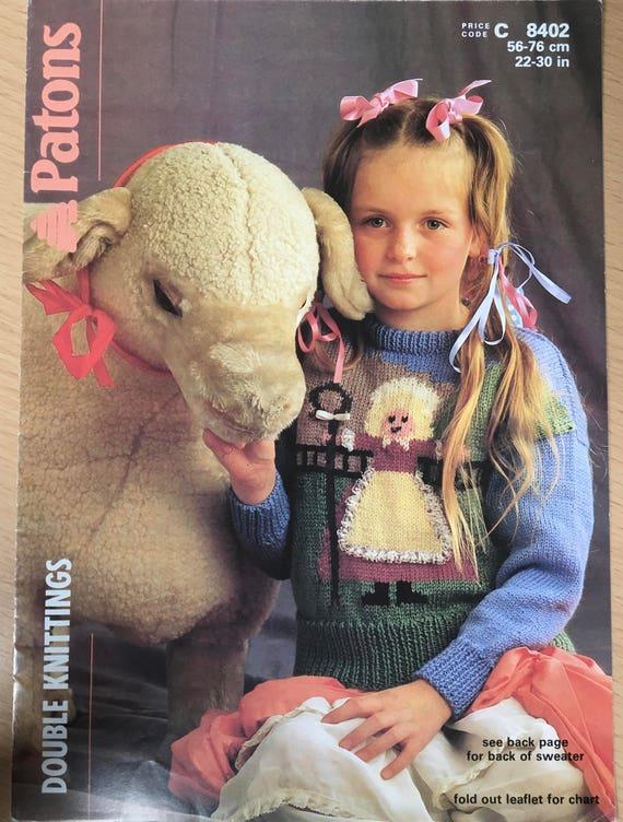 Childrens Jumper Knitting Pattern Little Bo Peep Sweater Patons