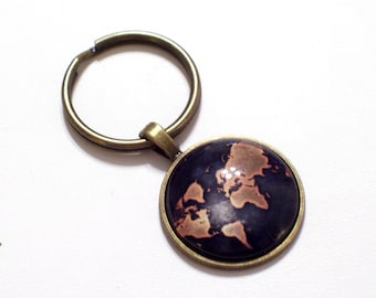Globe keychain world map key chain keyring key fob planet map keychain globe keychain world map key chain fathers day traveler keychain gumiabroncs Image collections