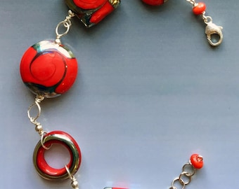 Ginger Bracelet in Red: handmade glass lampwork beads with sterling silver components.