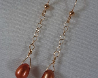 Teardrop Pearl Earrings in Rust, Gold Filled Ear Wires(LVE58)