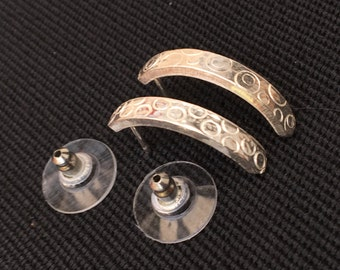 Textured silver earrings with hypoallergenic backs
