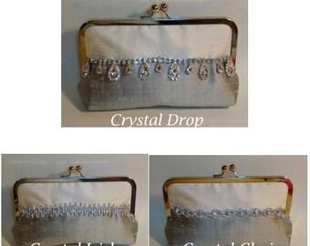 Two Tone Bridal Clutch or Bridesmaids Clutch Dupioni Silk with Rhinestone Trim