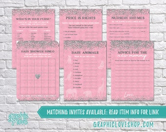 Digital Set of 6 5x7 Pink Silver Glitter Baby Shower Games & Advice for Mom Card, Made to Match | PDF File, Instant Download, Ready to Print
