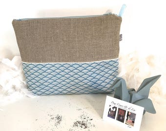 Toiletry bag personalized origami in natural linen and cotton blue