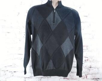 men's black grey sweater - men's Argyle sweater - Men's long sleeve sweater -zip neck sweater - Rugby Style Sweater - size Medium    #2