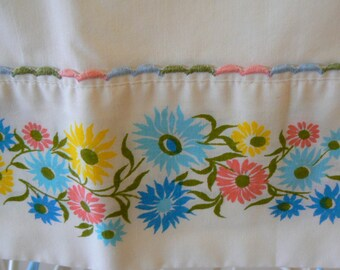 Vintage Pillowcase White with Floral Trim