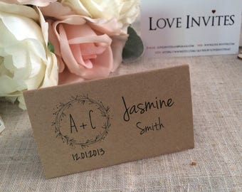 Wedding Table Setting Rustic Name Cards / Place Cards Hand