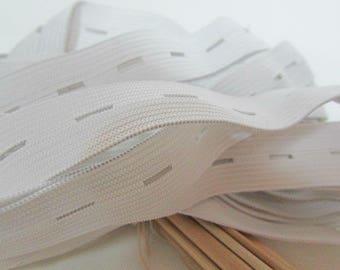 1 meter Ribbon lapel pins 20 mm elastic white - spandex - 1.41