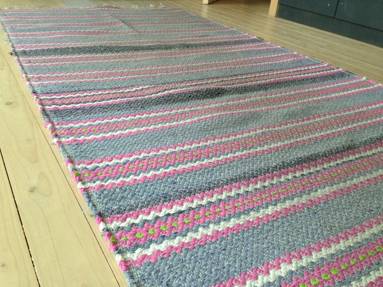 Swedish large Rag rug Large woven rag rug Striped Denim blue