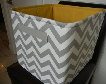 "EEx Large Toy Bin-13""x14""x13""(choose BASKET & LINING color)-Baby Gift-Fabric Storage Organizer-Chevron-""Grey Zigzag"""
