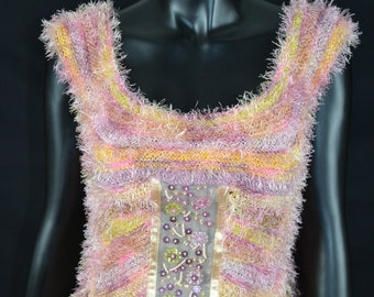 Hand knit pink blouse with beads
