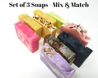 Homemade Soap Set, 3 handmade soaps, mix and match soap bundle, bulk soap set, cruelty free soap set, variety soap pack, vegan soap set