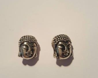 2 beautiful silver metal Buddha beads