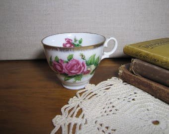 Porcelain Teacup - Pink and Yellow Roses - Gold Accent - Scroll Handle