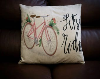 Let's Ride Vintage Style  Cycling Cushion Cover - Bike Cushion Cover