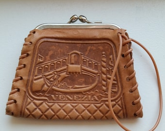 Small Tooled Leather Coin Purse with Snap Closure