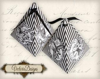 Alice in Wonderland pyramid box vintage printable images digital collage sheet VD0402