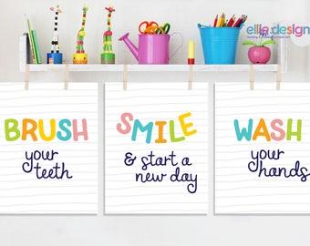 Brush Smile Wash Prints, Bathroom Wall Art, Bathroom Prints, Kids Bathroom Prints, Brush Teeth, Wash Hands, Kids Bathroom Printables