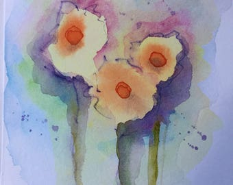 Original Watercolor watercolor Postcard Flowers abstract art Watercolor abstract painting