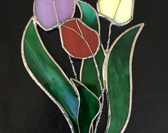 Stained glass tulips suncatcher home decor tiffany