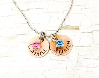 Mixed metal name necklace, mothers necklace, mom gift, copper and silver, minimalist necklace, birthstone necklace, new mom gift, unique mom