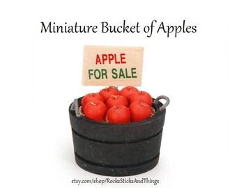 Bucket of Apples Mini, Miniatures, Dollhouse, Fairy Gardens