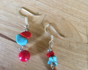 Fun and Festive Turquoise and Red Earrings