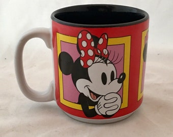 Vintage Walt Disney Coffee Mug Minnie Mouse Tea Cup Thailand Red Yellow Pink