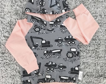 Pink Hoodie for baby and toddler gray tractors and sleeves