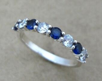 Sapphire And Diamond Eternity Band, Sapphire Eternity Wedding Band, Sapphire And Diamond Wedding Ring, Diamond And Sapphire Wedding Ring