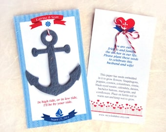 35 Seed Paper Anchors - Nautical Wedding Favors - Plantable Paper Anchors Destination Wedding Favors - Custom Anchor Cards - Free Shipping
