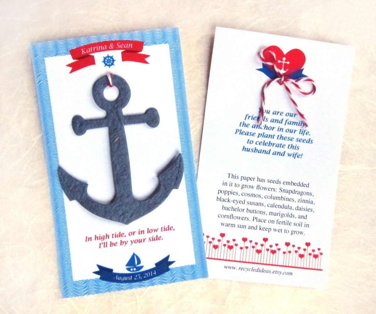 35 Seed Paper Anchors Nautical Wedding Favors Plantable